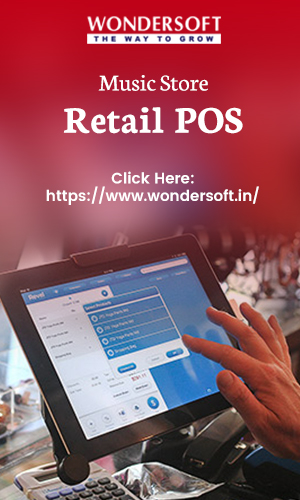 Point of Sale System Software For Musical Store Management On Display.